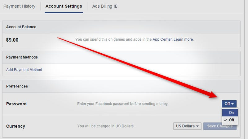 Illustration for article titled PSA: Enable This Setting to Password Protect Facebook Payments