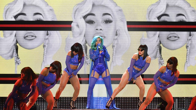 Rapper Cardi B (C) performs with dancers during the 2019 Adult Video News Awards at The Joint inside the Hard Rock Hotel & Casino on January 26, 2019 in Las Vegas, Nevada.