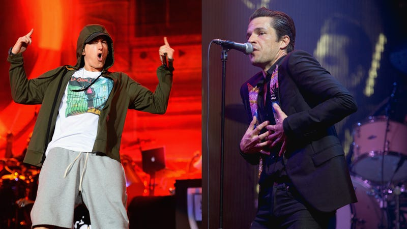 Eminem (Photo: Theo Wargo/Getty Images) and The Killers' Brandon Flowers (Photo: Rob Loud/Getty Images)