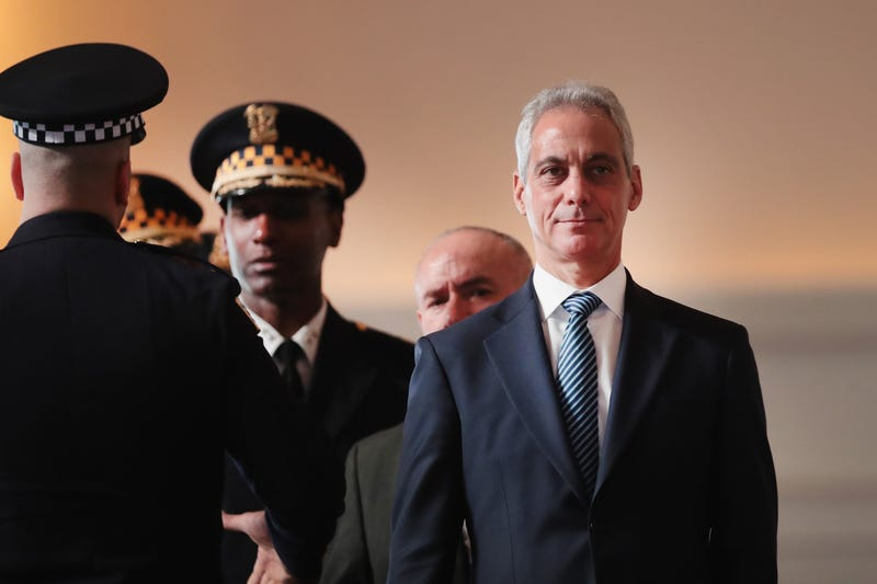 Rahm Emanuel attends a police graduation and promotion ceremony at Navy Pier on Nov. 19, 2018, in Chicago.