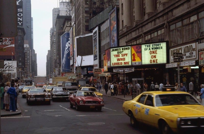 New York's Times Square, August 1977, long before the invention of Snapchat. (AP Photo/Jim Wells)