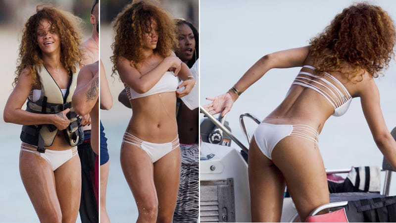 Illustration for article titled Rihanna's Swimsuit Is All Strung Out