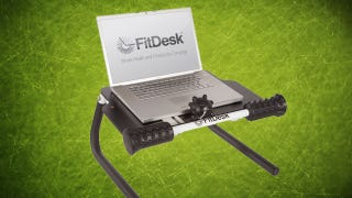 Illustration for article titled FitDesk Tabletop Standing Desk Raises Your Laptop and Massages You