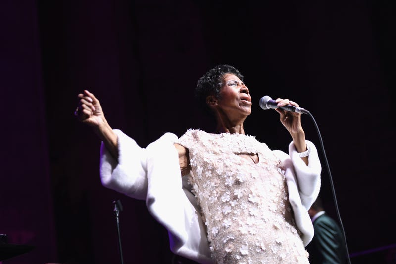 Aretha Franklin performs onstage at the Elton John AIDS Foundation Commemorates Its 25th Year And Honors Founder Sir Elton John During New York Fall Gala at Cathedral of St. John the Divine on November 7, 2017, in New York City.