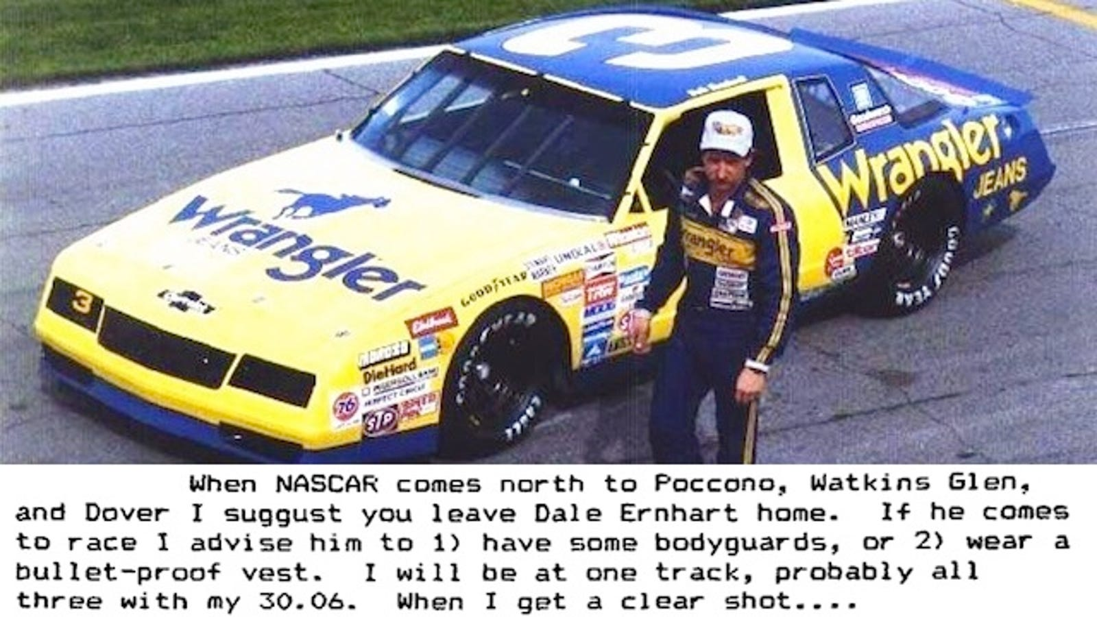 25 years ago dale earnhardt received this death threat for his ornery driving