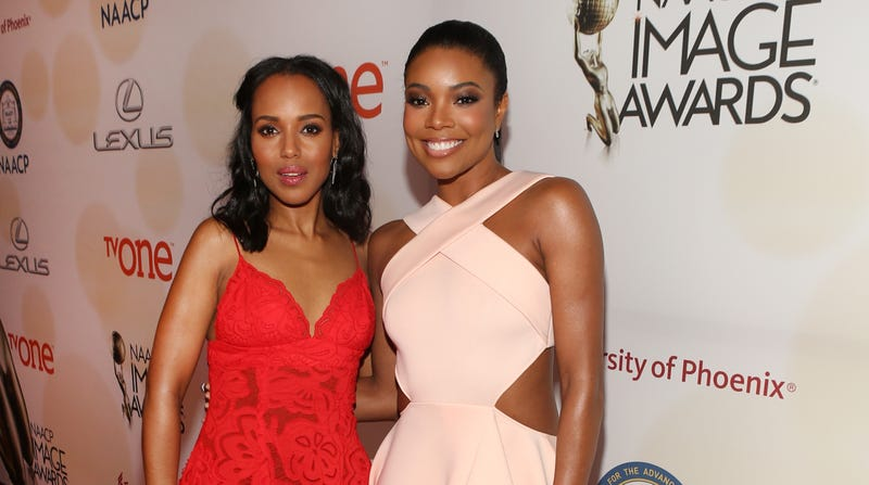 Kerry Washington (L) and Gabrielle Union attend the 46th NAACP Image Awards on February 6, 2015 in Pasadena, California.