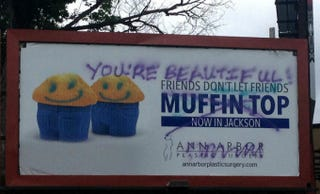 Illustration for article titled Vandals Trash Plastic Surgeon's Anti-Muffin Top Billboard in Michigan
