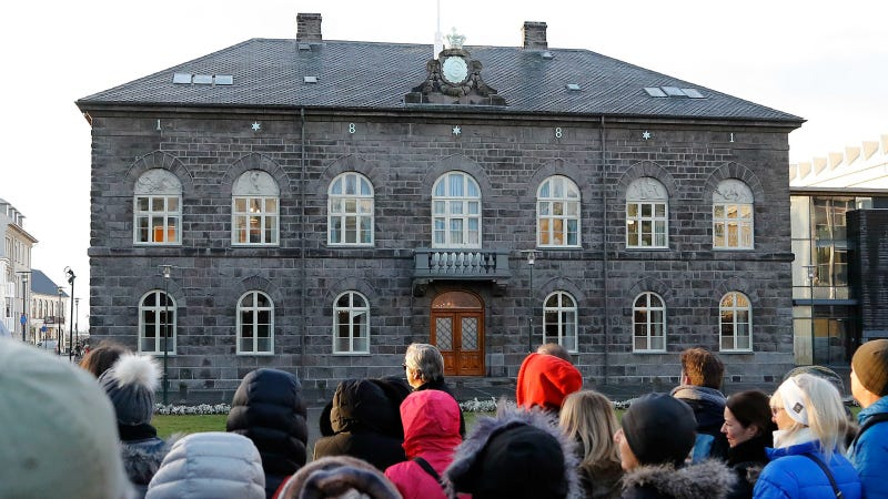 The Icelandic parliament the Althing in Reykjavik. Photo via AP Images.