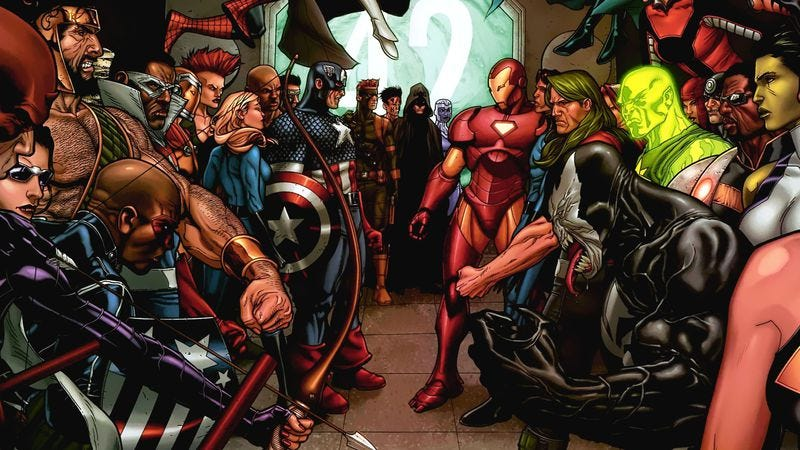 Illustration for article titled With Civil War, Marvel dusted off inane source material for superfights