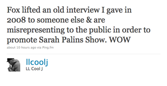 Illustration for article titled LL Cool J Will Not Be Meeting Sarah Palin