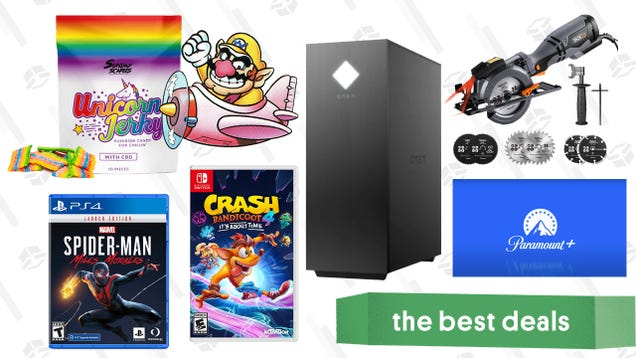 Monday s Best Deals: HP Omen 25L Gaming Desktop, Buy 2 Get 1 Free Video Games, Tacklife Circular Saw, Unicorn Jerky CBD, Paramount+ Free Trial, and More