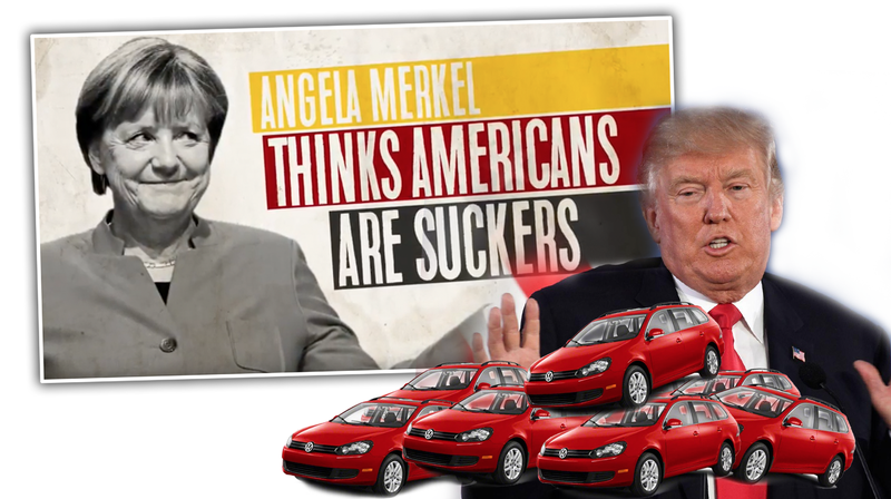 Illustration for article titled The Unhinged Political Ad That Says Germany Is 'Dumping Cheap Cars' On America