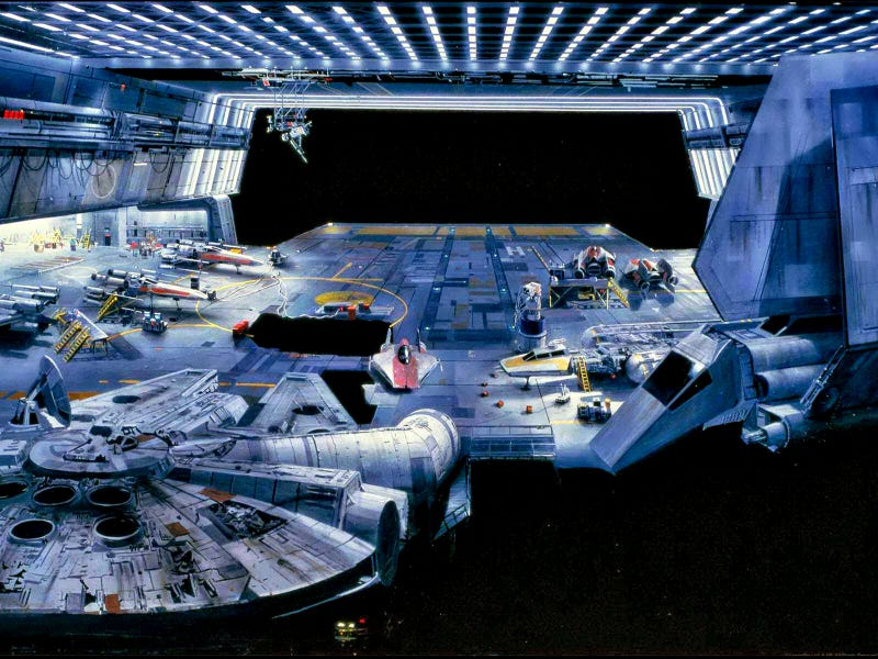 Illustration for article titled How ILM made you believe this painting was a real hangar in Star Wars