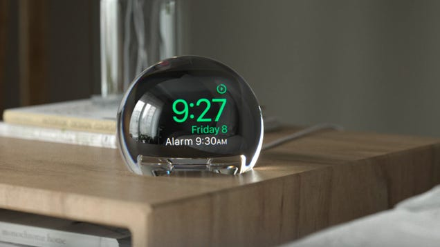 Clever Crystal Ball Dock Magnifies Your Apple Watch s Screen for a Better Bedside Alarm Clock