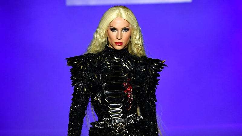 Designer Philippe Blond channels Maleficent post-Prince Phillip battle, bloody chest wound and all.