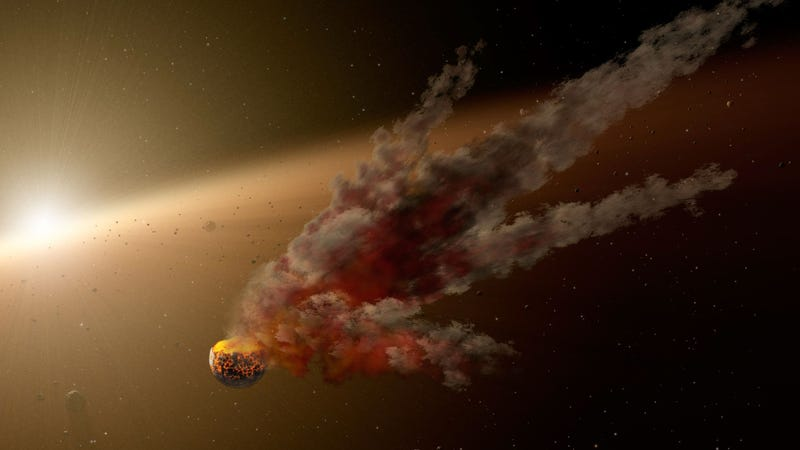 KIC 8462852's huge dips in brightness could be caused by swarms of comets, possibly the remnants of a shattered planet. (Image: NASA, JPL-Caltech)