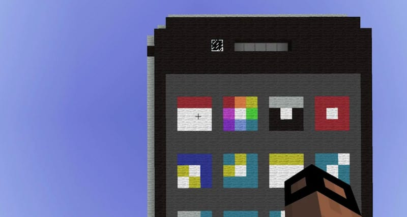 """Illustration for article titled Someone Built A """"Working"""" iPhone Inside Minecraft"""