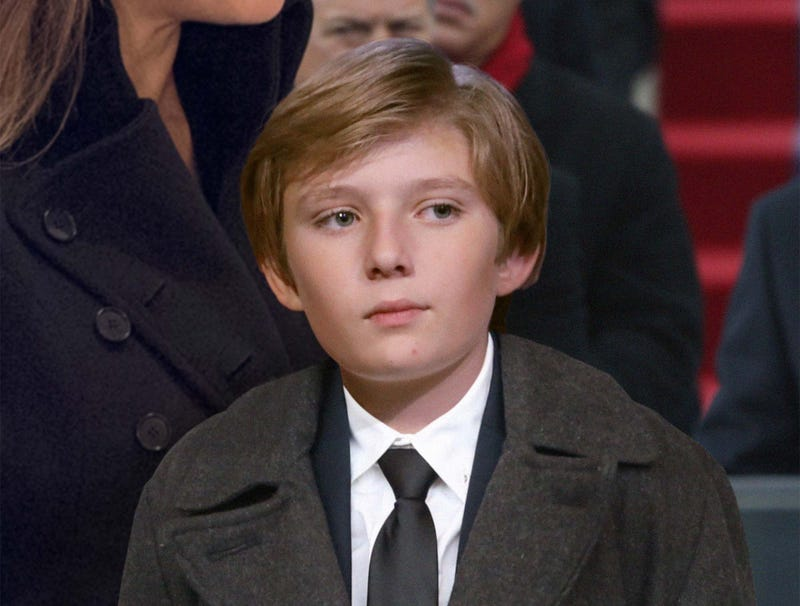 Illustration for article titled Bored Barron Trump Counts Confederate Flags In Inauguration Crowd To Pass Time