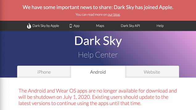 Apple Buys Dark Sky, Kills Android App and API