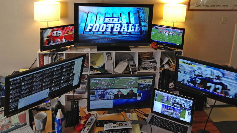 Illustration for article titled The Insane One-Man Computer Station It Takes to Cover Every Single March Madness Game