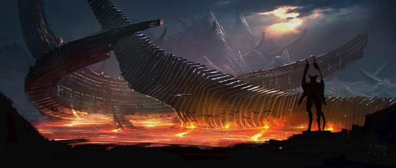 Illustration for article titled Gorgeous Concept Art of the Fiery Alien Planet From Syfy'sChildhood's End