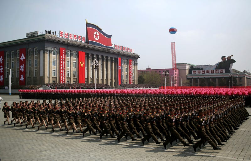 In this Saturday, April 15, 2017, file photo, soldiers march across Kim Il Sung Square during a military parade in Pyongyang, North Korea to celebrate the 105th birth anniversary of Kim Il Sung. (AP Photo/Wong Maye-E, File)