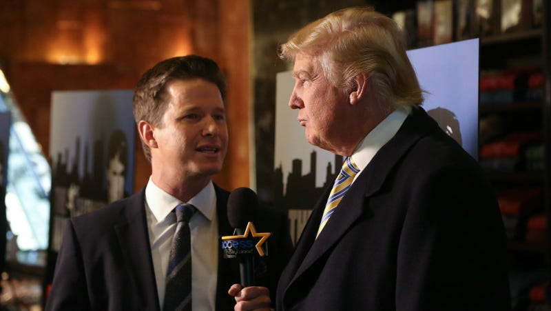 Donald Trump is interviewed by Billy Bush of Access Hollywood at 'Celebrity Apprentice' Red Carpet Event at Trump Tower on January 20, 2015 in New York City. Photo via Getty