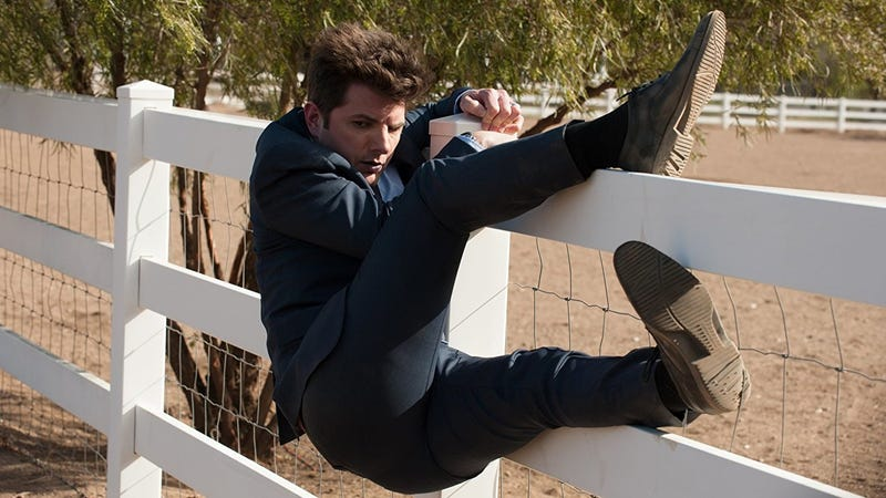 There's a man on the fence! Adam Scott, seen here on Parks and Rec, is entering The Twilight Zone.