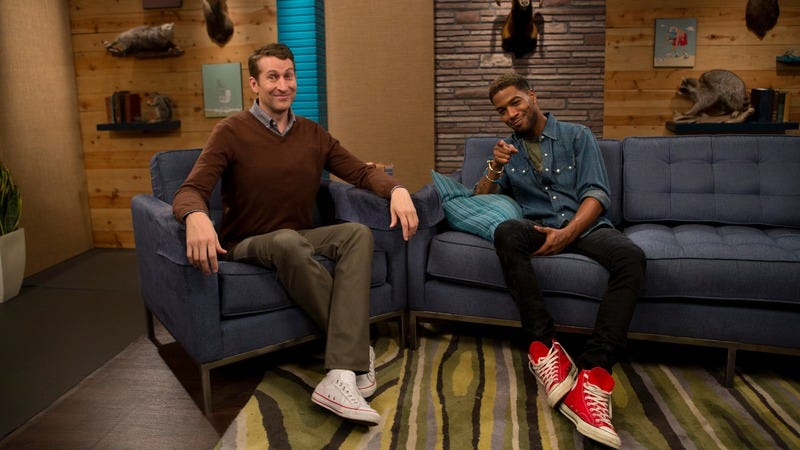 Aukerman (left) and Kid Cudi politely wait for Comedy Bang! Bang!'s Emmy nomination
