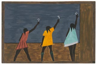 "Jacob Lawrence, the Migration Series, 1940-41. Panel 58: ""In the North the Negro had better educational facilities."" Casein tempera on hardboard, 18 by 12 inches (45.7 by 30.5 cm). The Museum of Modern Art, New York. Gift of Mrs. David M. Levy. © 2015 the Jacob and Gwendolyn Knight Lawrence Foundation, Seattle/Artists Rights Society, New York.Digital image © the Museum of Modern Art/Licensed by SCALA/Art Resource, New York"