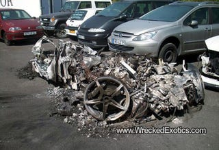 Illustration for article titled This Pile Of Burnt Metal Used To Be A Ferrari 458 Italia
