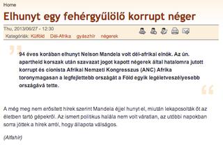 Illustration for article titled Akármennyire is akarják a magyar nácik, Mandela még nem halt meg