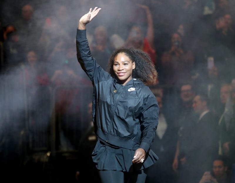 Serena Williams  waves to the fans as she is introduced before the start of the Tie Break Tens at Madison Square Garden on March 5, 2018, in New York City.