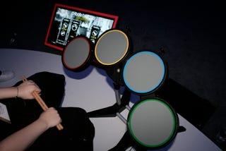Illustration for article titled Hands-On, Rock Band Drumset