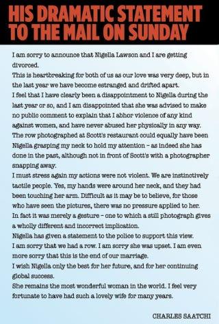 Illustration for article titled Nigella Lawsont otthagyja a fojtogatós férje