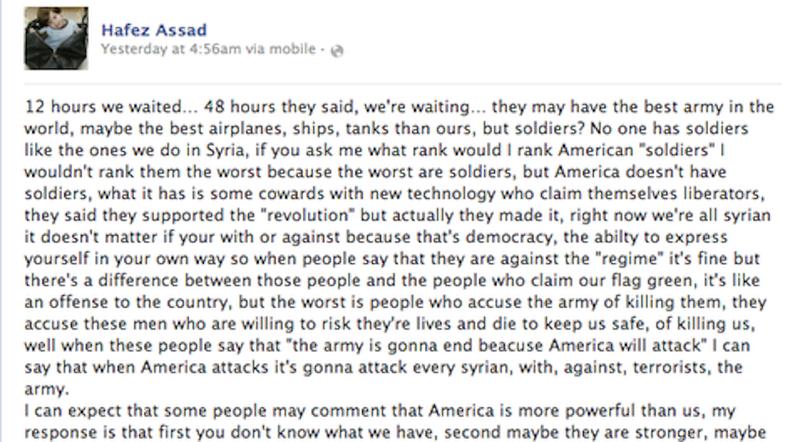 Illustration for article titled A szíriai elnök 11 éves fia Facebookon üzent az amerikai hadseregnek