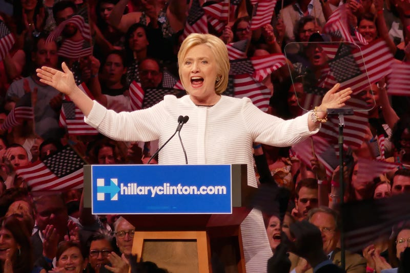 Hillary Clinton, the presumptive Democratic presidential candidate after winning primaries in California and three other states June 7, 2016, thanks her supporters that night at a rally at the Duggan Greenhouse Building in Brooklyn, N.Y. Selcuk Acar/Anadolu Agency/Getty Images