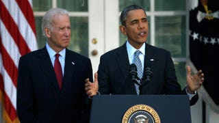 U.S. President Barack Obama speaks on the Affordable Care Act with Vice President Joe Biden in the Rose Garden of the White House April 1, 2014, in Washington, D.C.Win McNamee/Getty Images