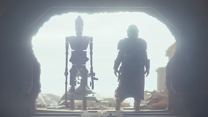 IG-11 and the Mandalorian in one of the coolest shots from the pilot of the show.