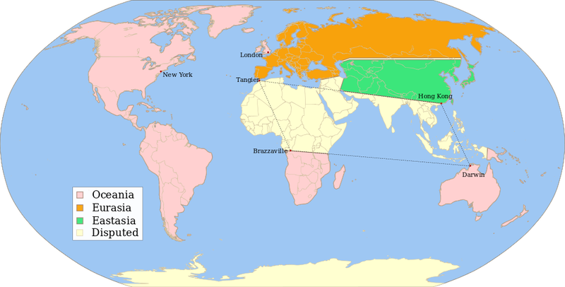 Illustration for article titled This map describes the world of George Orwell's 1984—or does it?