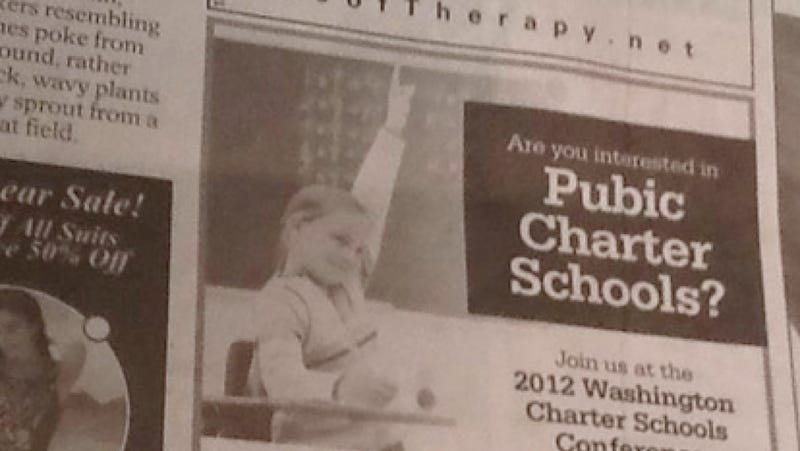 Illustration for article titled Charter School Ad Mistakenly Asks Readers If They're Interested in 'Pubic Charter Schools'