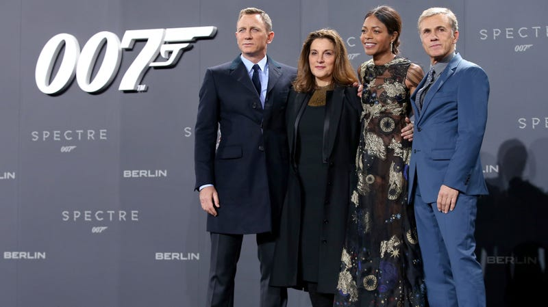 Daniel Craig with producer Barbara Broccoli, as well as actors Naomie Harris and Christoph Waltz at the German premiere of Spectre in 2015.