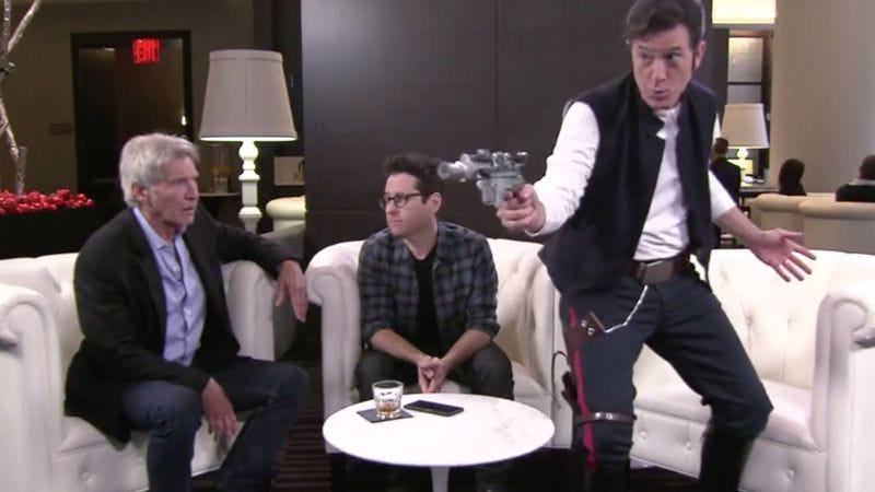Illustration for article titled Stephen Colbert and J.J. Abrams perform a Jedi mind trick on Harrison Ford