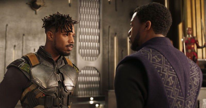 Michael B. Jordan as Erik Stevens/N'Jadaka/Killmonger confronting Chadwick Boseman, aka T'Challa/Black Panther