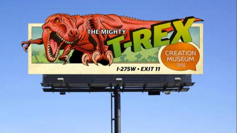 Illustration for article titled This Dallas Billboard Says Man Coexisted With Dinosaurs