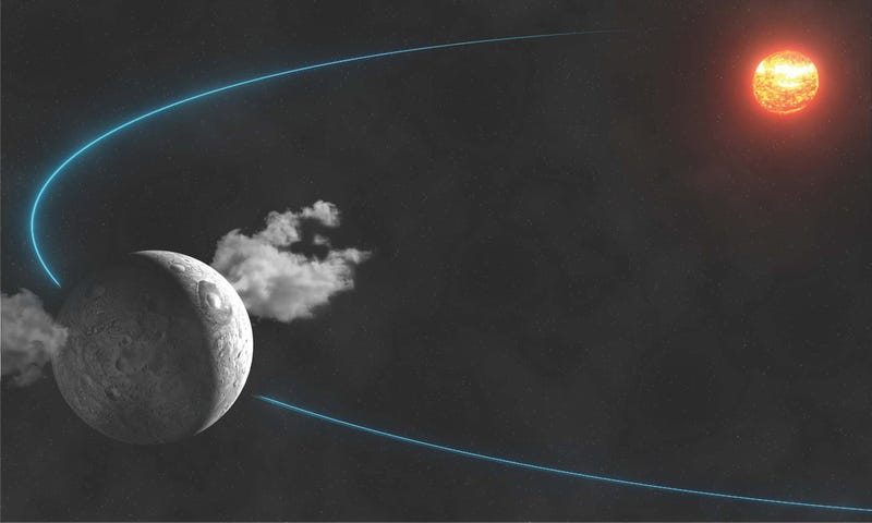 Illustration for article titled Astronomers have spotted water plumes on dwarf planet Ceres