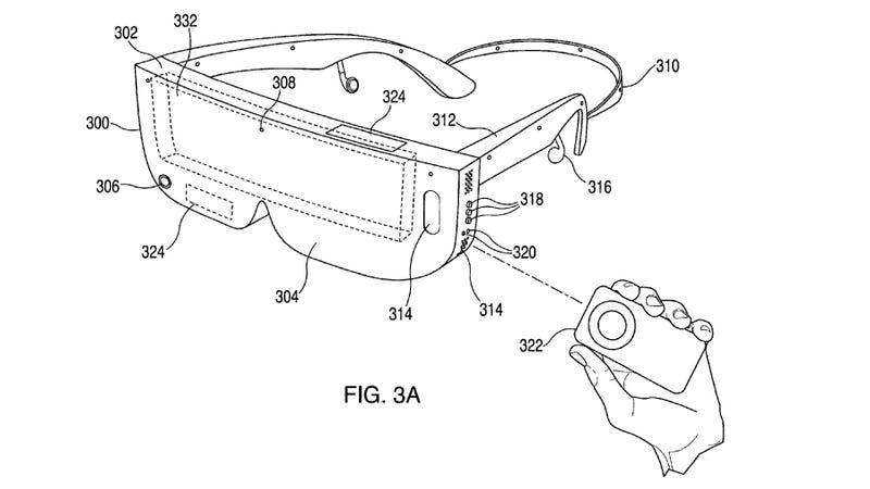Patent drawing of VR device filed by Apple. Image: US Trademark Office