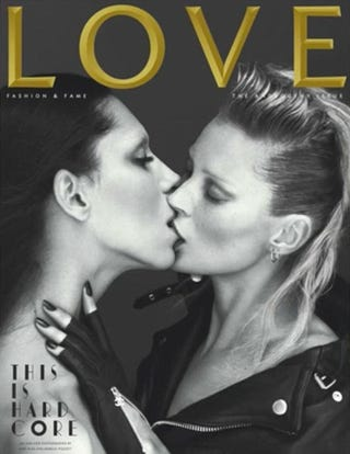 Illustration for article titled Kate Moss Makes Out With Transsexual Model For LOVE
