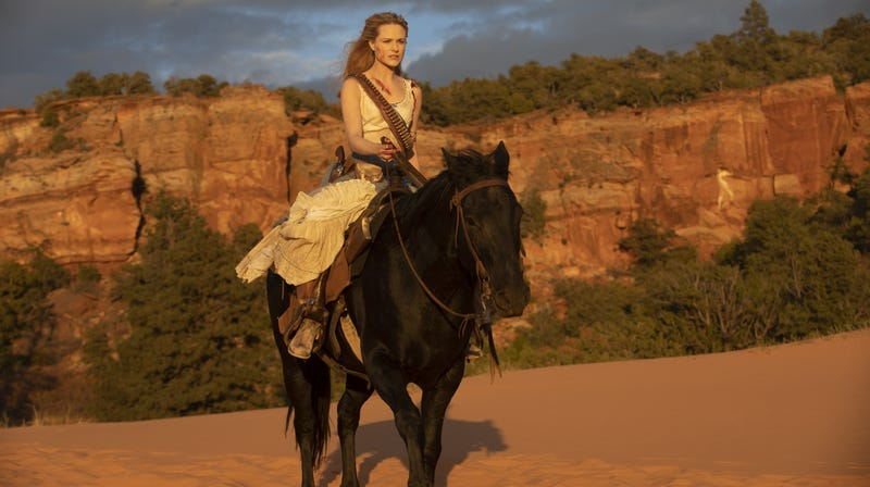 Dolores rides, not exactly into the sunset.