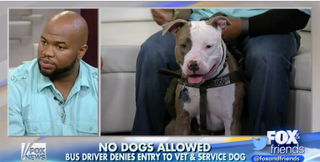 Retired Marine Staff Sgt. Daniel Wright and Tank, his service dog, appear on Fox & Friends.Fox & Friends